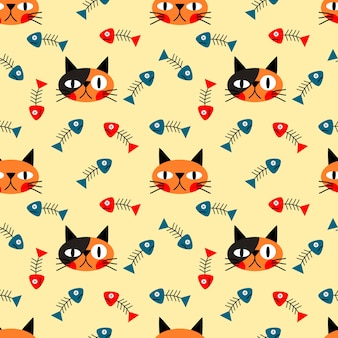 Cat's face and fishbone seamless pattern
