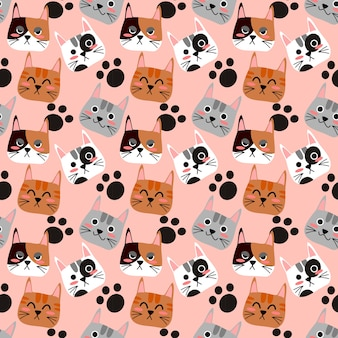 Cat's face seamless pattern