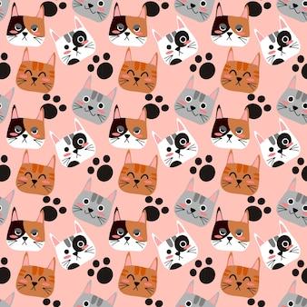 猫の顔のシームレスなパターン