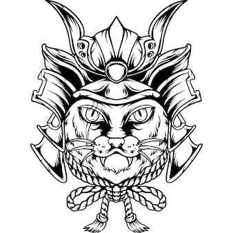 The cat samurai japan silhouette