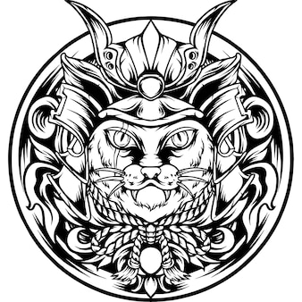 The cat samurai japan with ornament silhouette