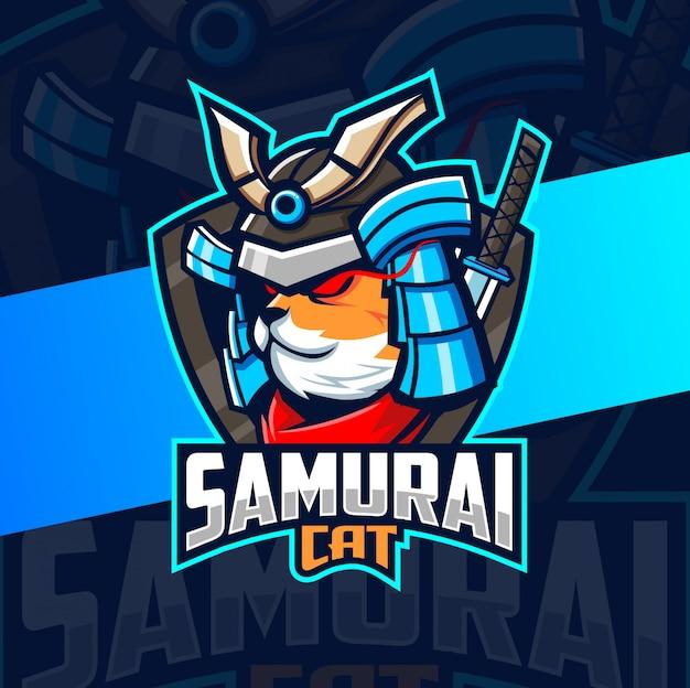Кот самурай талисман киберспорт дизайн логотипа