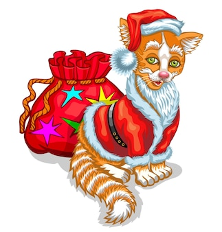 Cat santa claus with a bag of gifts. vector illustration isolated on white.