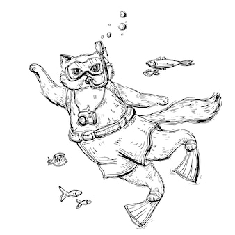 Cat scuba diver dressed in a mask for diving, swimming trunks, flippers and with camera. vintage vector monochrome hatching illustration isolated on white background. hand drawn design for t-shirt