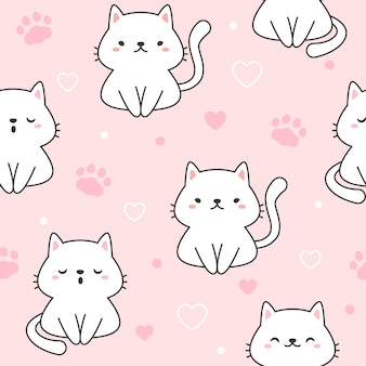 Cat seamless pattern background