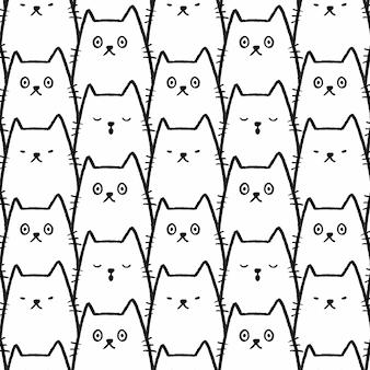 猫のシームレスなパターンの背景