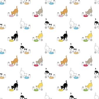 고양이 원활한 패턴 옥양목 새끼 고양이 만화 음식 그릇