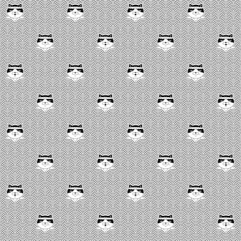 고양이 원활한 패턴 옥양목 새끼 고양이 일본 웨이브