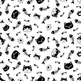Cat seamless pattern calico kitten paw footprint fish bone