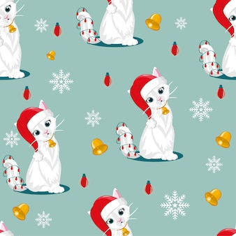Cat seamless pattern. christmas cartoon santa claus with bell and red lamp.
