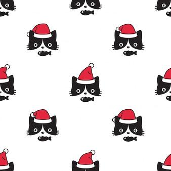 猫のシームレスなパターンクリスマスサンタクロースの帽子子猫