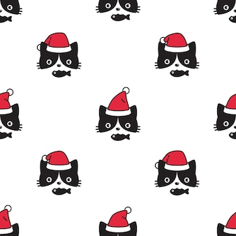 Cat seamless pattern christmas santa claus kitten face