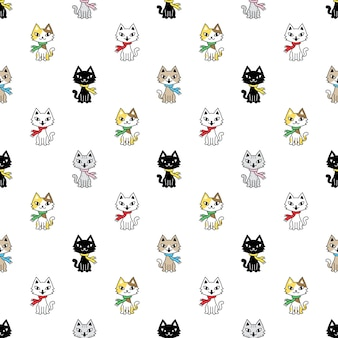 Cat seamless pattern clico kitten
