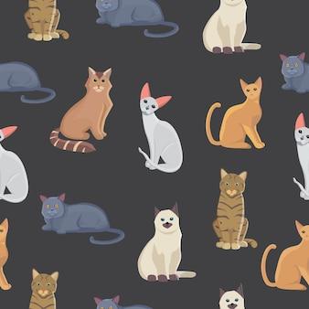 猫のシームレスなパターン。漫画風のかわいい子猫。