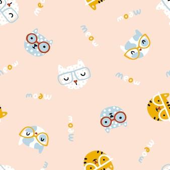 Кошка бесшовные модели симпатичные котята в очках детские персонажи в простой handdrawn