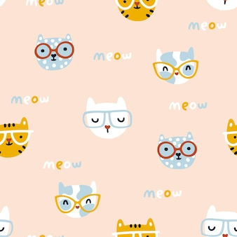 Cat seamless pattern cute kittens with glasses nursery characters in a simple handdrawn naive