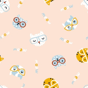 Cat seamless pattern cute kittens with glasses nursery characters in a simple handdrawn
