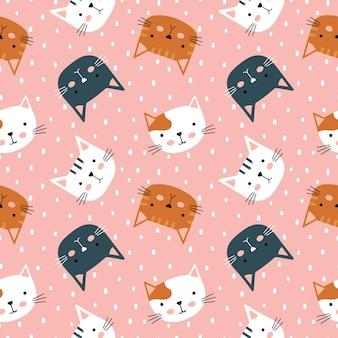 Кошка бесшовные модели. симпатичные разнообразные котята. детские персонажи в простом рисованном наивном мультфильме в скандинавском стиле.