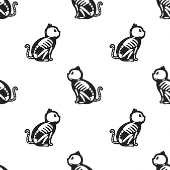 Cat seamless pattern halloween kitten bone skeleton cartoon