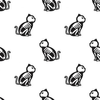 Cat seamless pattern halloween kitten bone skeleton