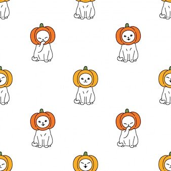 Cat seamless pattern halloween kitten pumpkin head cartoon