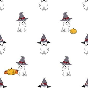 猫のシームレスなパターンのハロウィーンの魔女の帽子のカボチャ