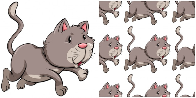 白で隔離猫シームレスパターン