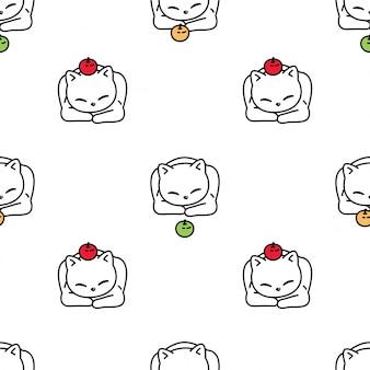 고양이 원활한 패턴 고양이 사과