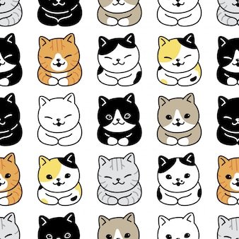 Кот бесшовные модели котенок породы иллюстрации шаржа