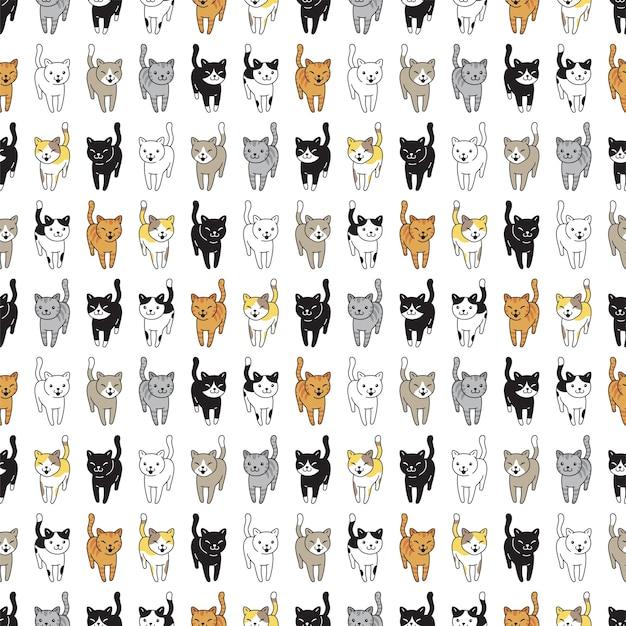 猫のシームレスなパターンの子猫の品種