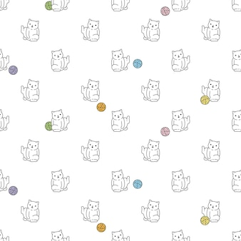 Кошка бесшовные модели котенок бязь мультфильм пряжа мяч