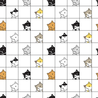 Кошка бесшовные котенок ситцевое животное породы персонаж мультфильма каракули