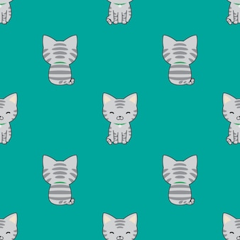 猫のシームレスなパターンの子猫の漫画