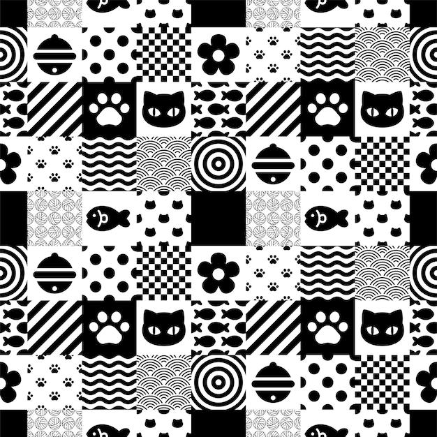 猫のシームレスパターン子猫チェック
