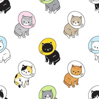 Cat seamless pattern kitten collar