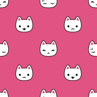 Cat seamless pattern kitten face cartoon