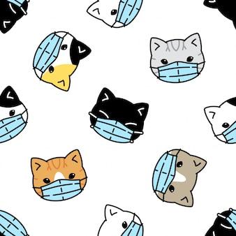 Cat seamless pattern kitten face mask coronavirus covid-19 illustration