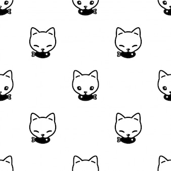 Cat seamless pattern kitten fish cartoon pet