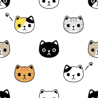 Cat seamless pattern kitten head face cartoon pet