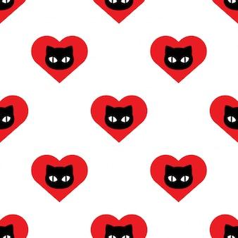 Cat seamless pattern kitten head face heart valentine cartoon