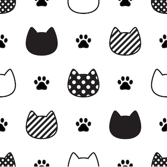 Cat seamless pattern kitten head paw footprint illustration