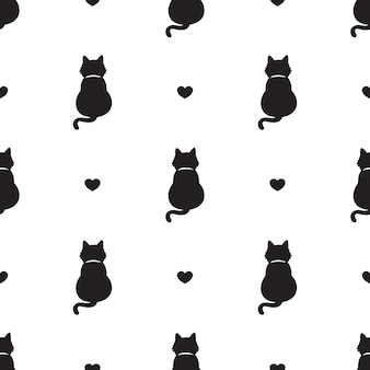 Cat seamless pattern kitten heart valentine cartoon
