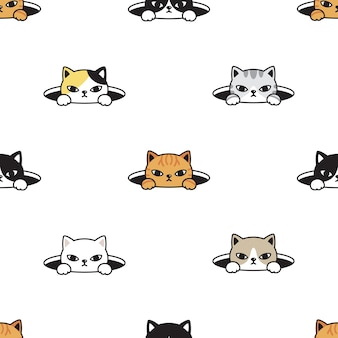 Cat seamless pattern kitten hiding