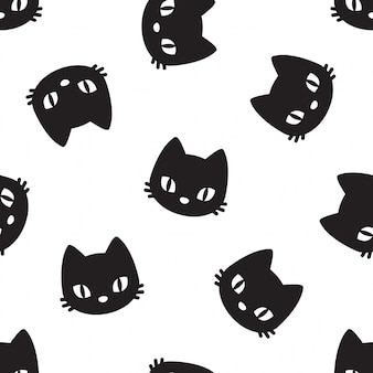 Cat seamless pattern kitten pet cartoon