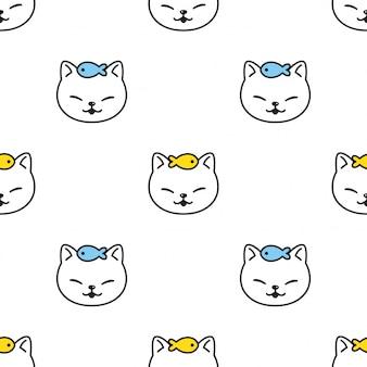 猫のシームレスなパターン子猫ペット頭顔漫画