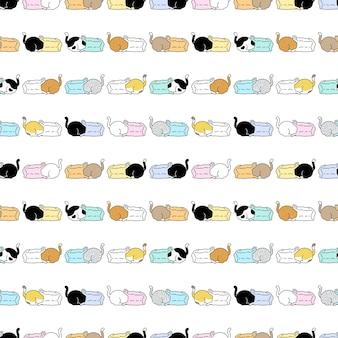 猫のシームレスなパターンの子猫のレジ袋