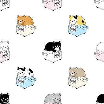 Cat seamless pattern kitten rice cooking cartoon pet illustration