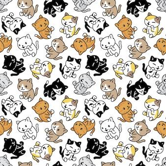 猫のシームレスなパターンの子猫が座っています