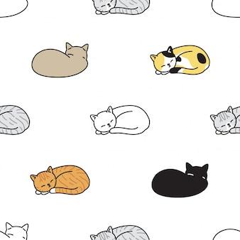 Кот бесшовные модели котенок спит порода мультяшный