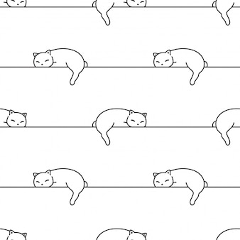 Cat seamless pattern kitten sleeping cartoon illustration